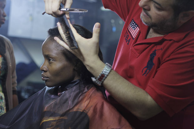 Adewunmi getting her hair done