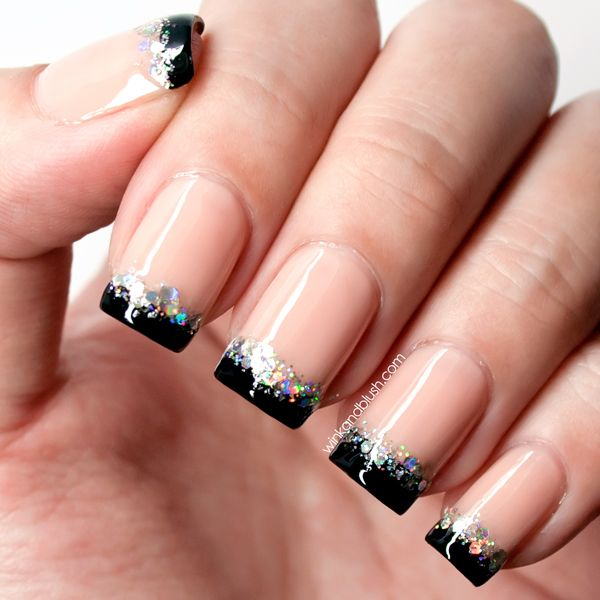 10 lovely nail art designs to ring in the new year stephanie daily if you love short nails this nude with black tips and holographic glitter design would prinsesfo Choice Image