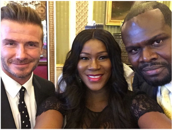 Selfie with hubby & David Beckham