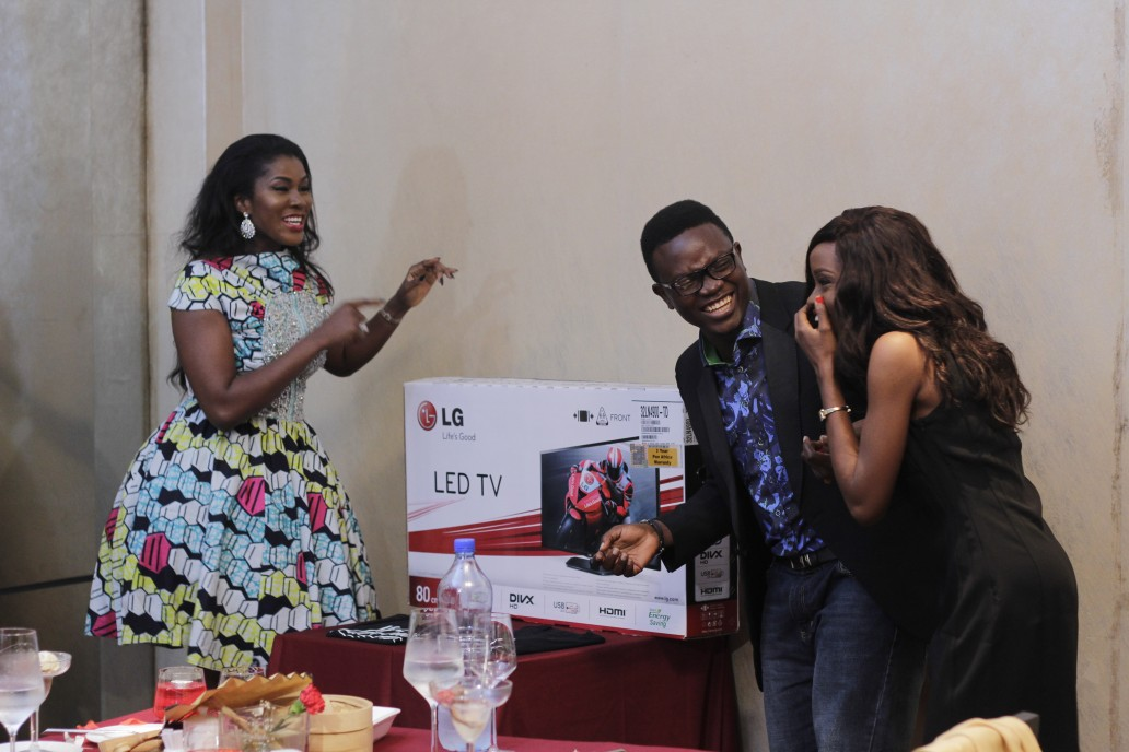 I had one more surprise for them... a LED TV from LG Electronics.