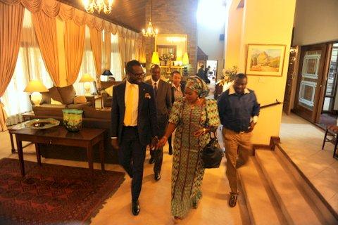 CEO of Del-York International, Mr. Linus Idahosa and The Nigerian Ambassador to Zambia, Mrs  Sifamu Inu Umoru Momoh  heading for the Press briefing.