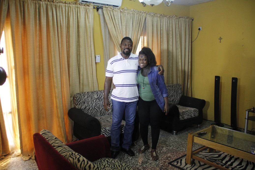 The Make Me Fabulous team arrived at Sandra's house to meet her happy and ready with her husband Chukwumah