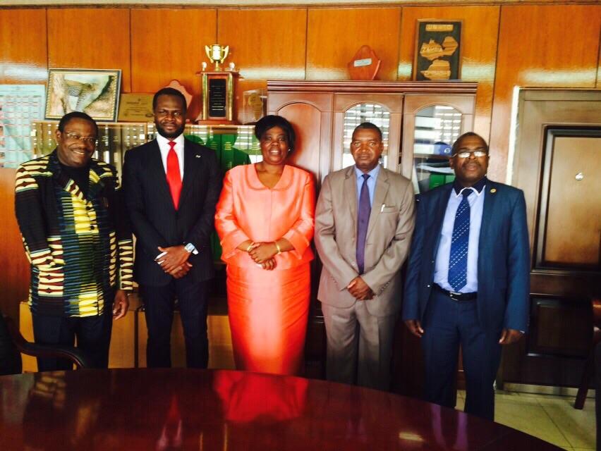 L-R. President of ZITIC,Mr. Sebastian Kopulande,CEO of Del-York, Mr. Linus Idahosa, Hon. Minister of Tourism Zambia, Mrs Jean Kapata, Deputy Minister of Tourism Zambia and the Permanent Secretary of the Ministry of Tourism at the Minister's office.