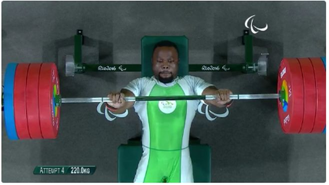 Paul Kehinde lifted 218kg to beat his rivals to the gold medal, setting a new world record in the process. As if that was not enough, Kehinde went on to beat his own record by lifting a massive 220kg!
